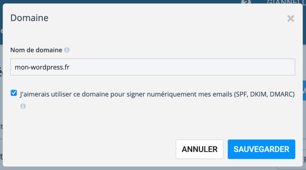 Capture d'écran : Configurer un domaine d'envoi d'email via Sendinblue