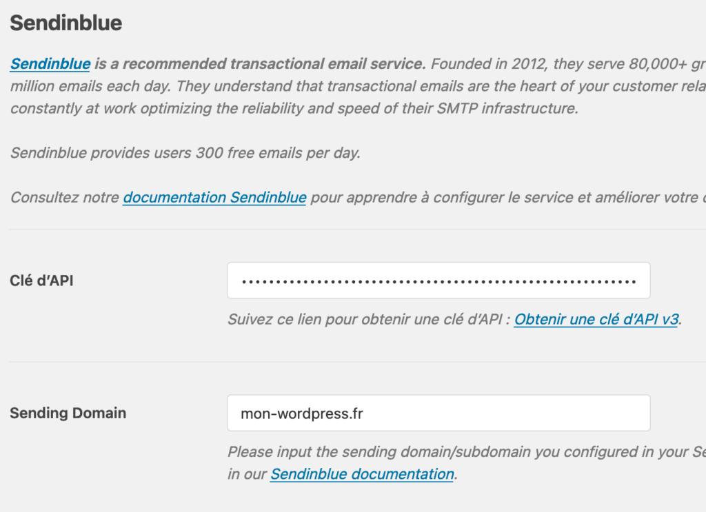 Capture d'écran : Paramérages Sendinblue avec l'API V3 sur WP Mail SMTP