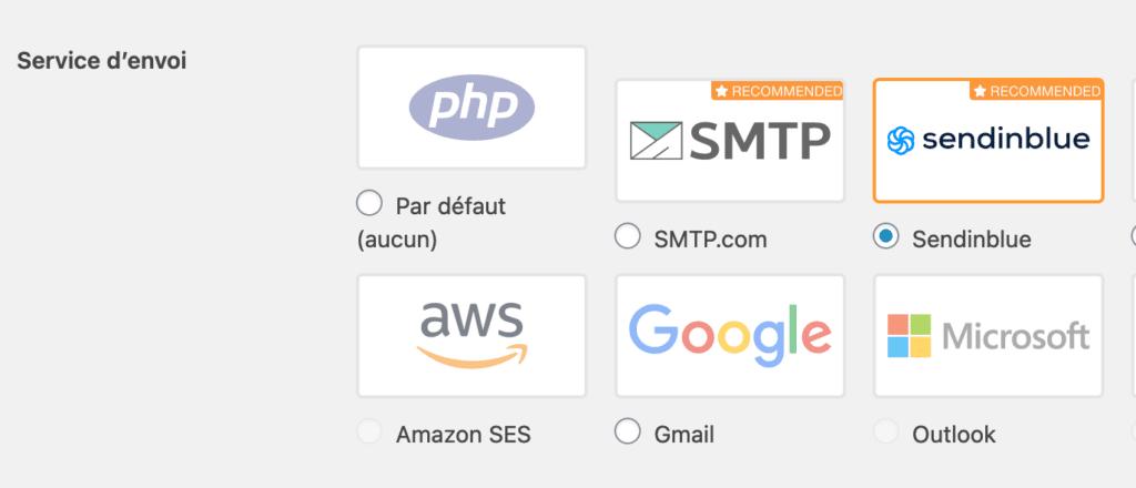 Capture d'écran : WP Mail SMTP activé sur Sendinblue